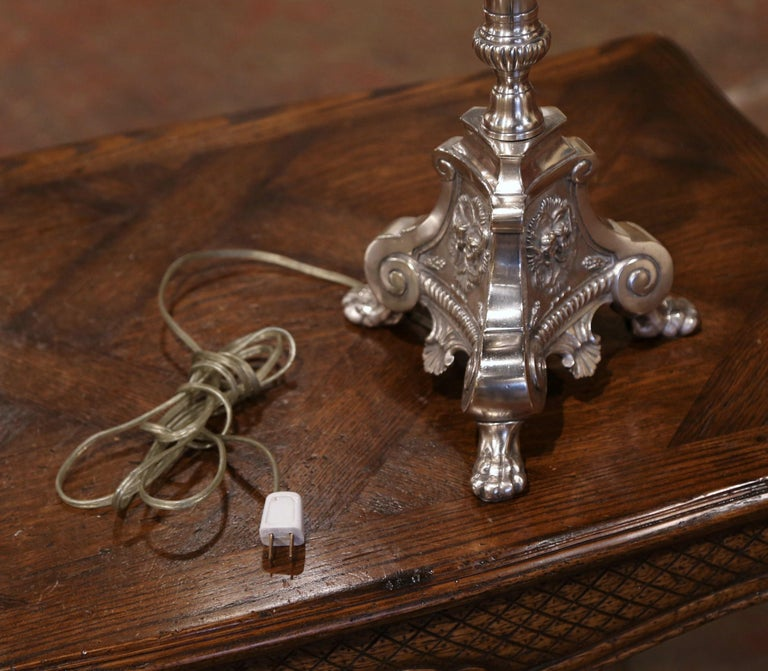 19th Century French Silver Plated Brass Candlestick Mounted into Table Lamp For Sale 4