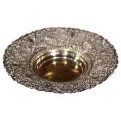 19th Century French Silver Plated Brass Repousse Bread Basket or Vide-Poche