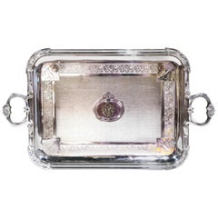 19th Century French Silver Plated Monogramed Tray Signed Pelloutier & Cie, 1894