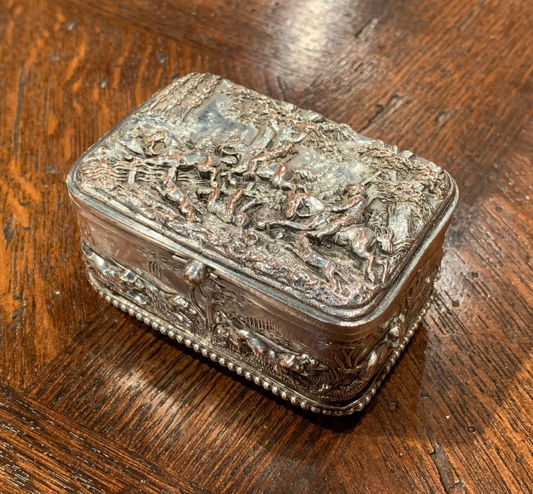Place this elegant, antique Napoleon III copper box in your master bath to keep your jewelry safe and organized. Crafted in France circa 1880, the petite ornate casket sits on four round feet, and all five sides including the top are embellished