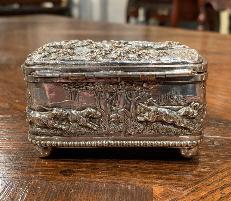 19th Century French Silver Plated on Copper Jewelry Box with Repoussé Hunt Motif For Sale 3
