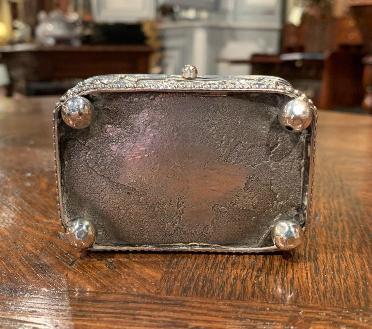 19th Century French Silver Plated on Copper Jewelry Box with Repoussé Hunt Motif For Sale 4