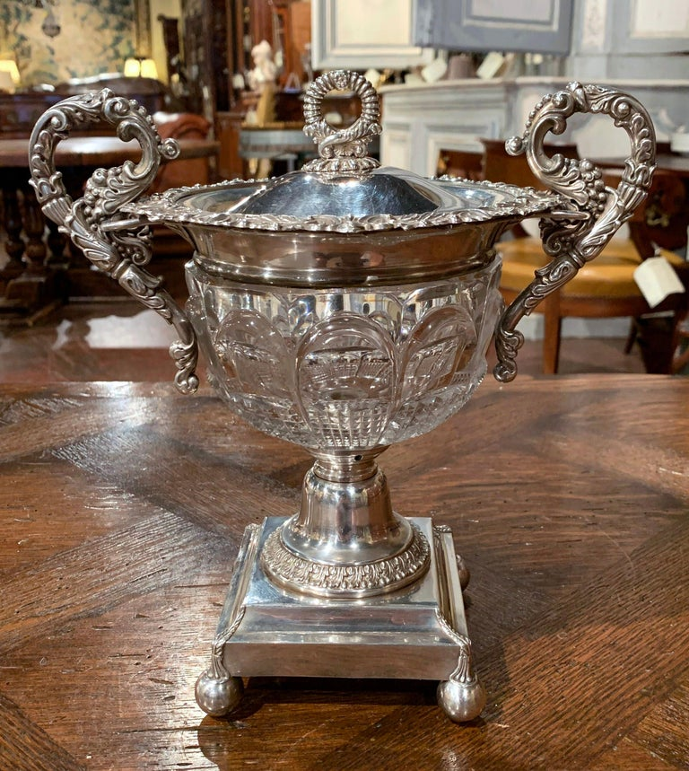 Hand-Crafted 19th Century French Silver Plated over Copper and Crystal Sugar or Candy Bowl For Sale