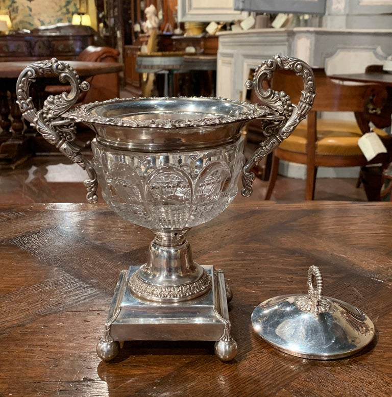 19th Century French Silver Plated over Copper and Crystal Sugar or Candy Bowl For Sale 1