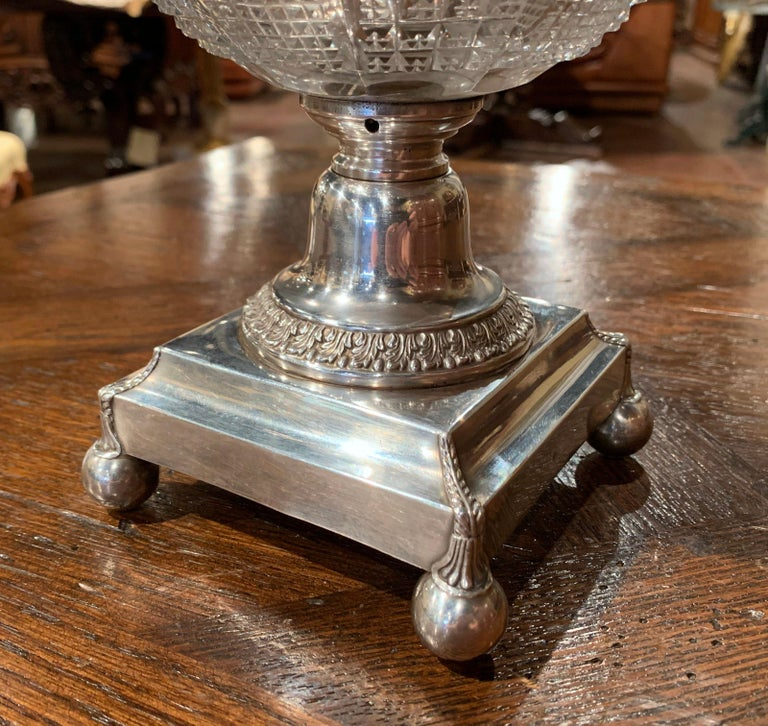 19th Century French Silver Plated over Copper and Crystal Sugar or Candy Bowl For Sale 2