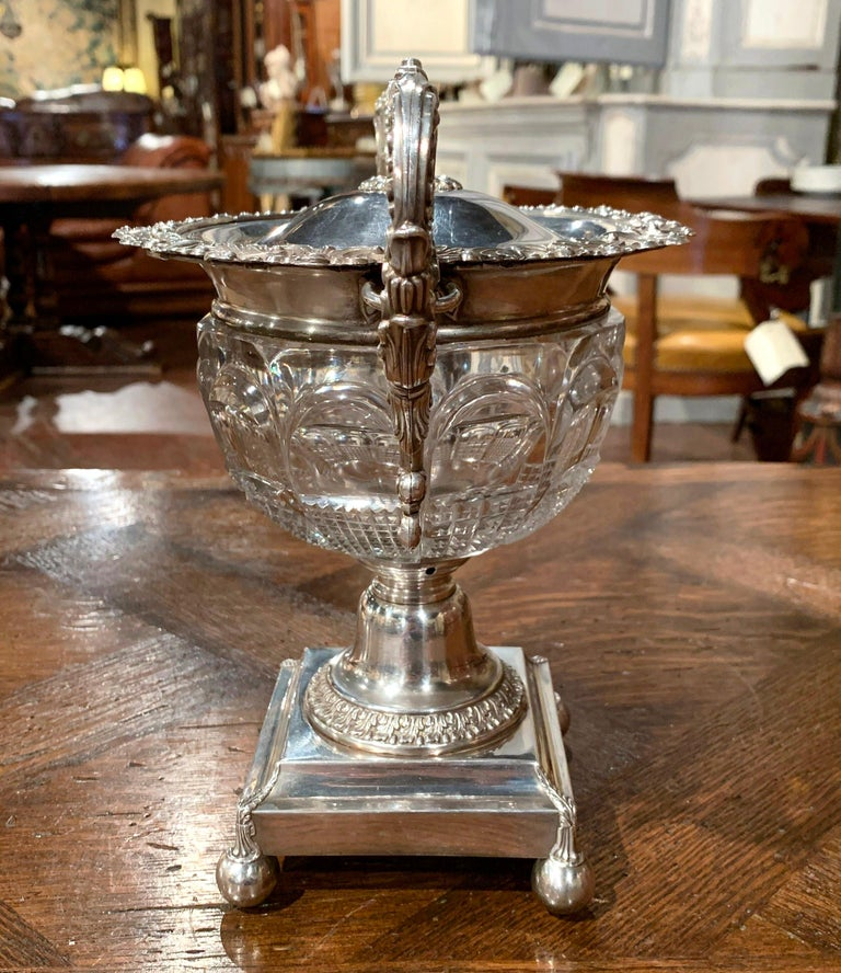 19th Century French Silver Plated over Copper and Crystal Sugar or Candy Bowl For Sale 3