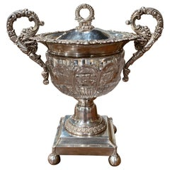 19th Century French Silver Plated over Copper and Crystal Sugar or Candy Bowl