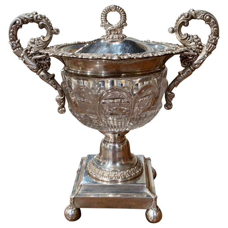 19th Century French Silver Plated over Copper and Crystal Sugar or Candy Bowl For Sale