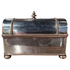 19th Century French Silver Plated over Copper Casket Inkwell