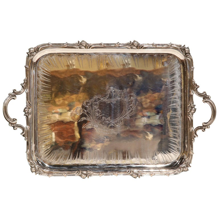 19th Century French Silver Plated Repousse Tray Signed Christofle with Engraving