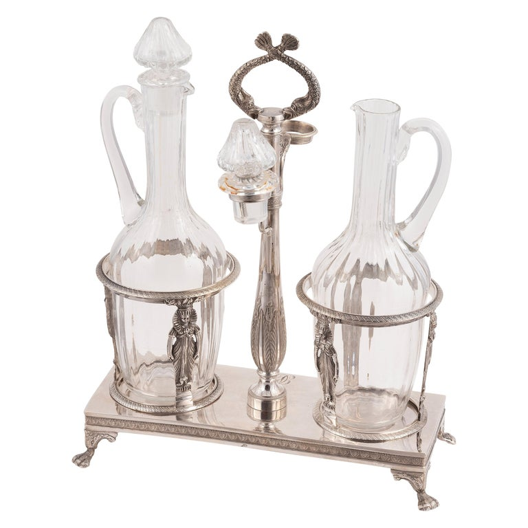 19th Century French Silver Two-Bottle Cruet Stand For Sale