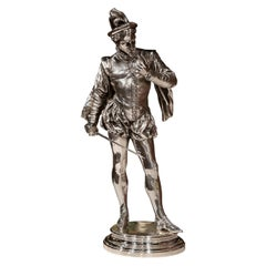 "19th Century French Silvered Bronze Sculpture ""Le Duel"" Signed P.L. Detrier"