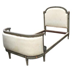 19th Century French Single Bed with Its Original Upholstery, 1980s