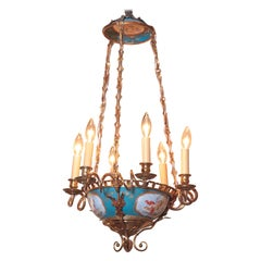 19th Century French Six-Light Hand Painted Porcelain and Brass Sevres Chandelier