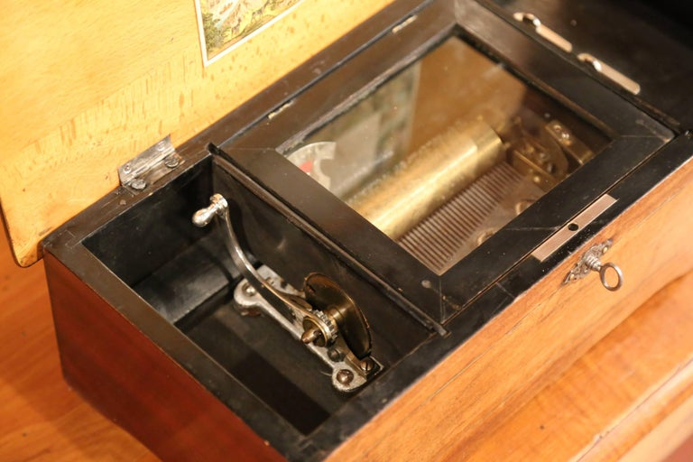 19th Century French Six-Melody Cylinder Crank Music Box in Good Working Order For Sale 2