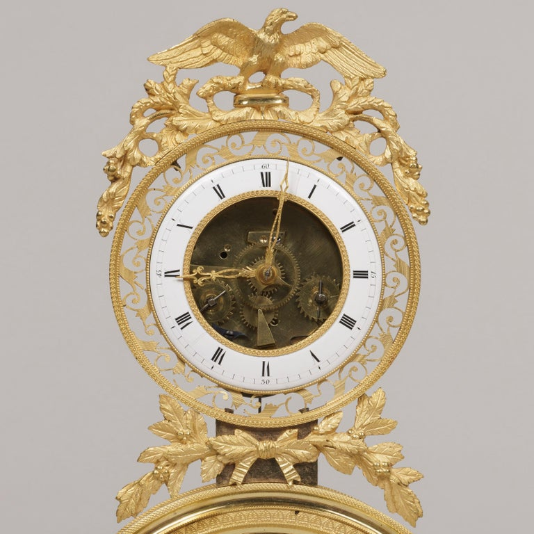 Gilt 19th Century French Skeleton Clock of Ormolu and Marble from Directoire Period For Sale