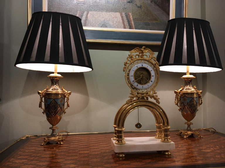 19th Century French Skeleton Clock of Ormolu and Marble from Directoire Period For Sale 1