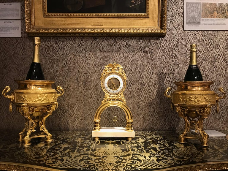 19th Century French Skeleton Clock of Ormolu and Marble from Directoire Period For Sale 6