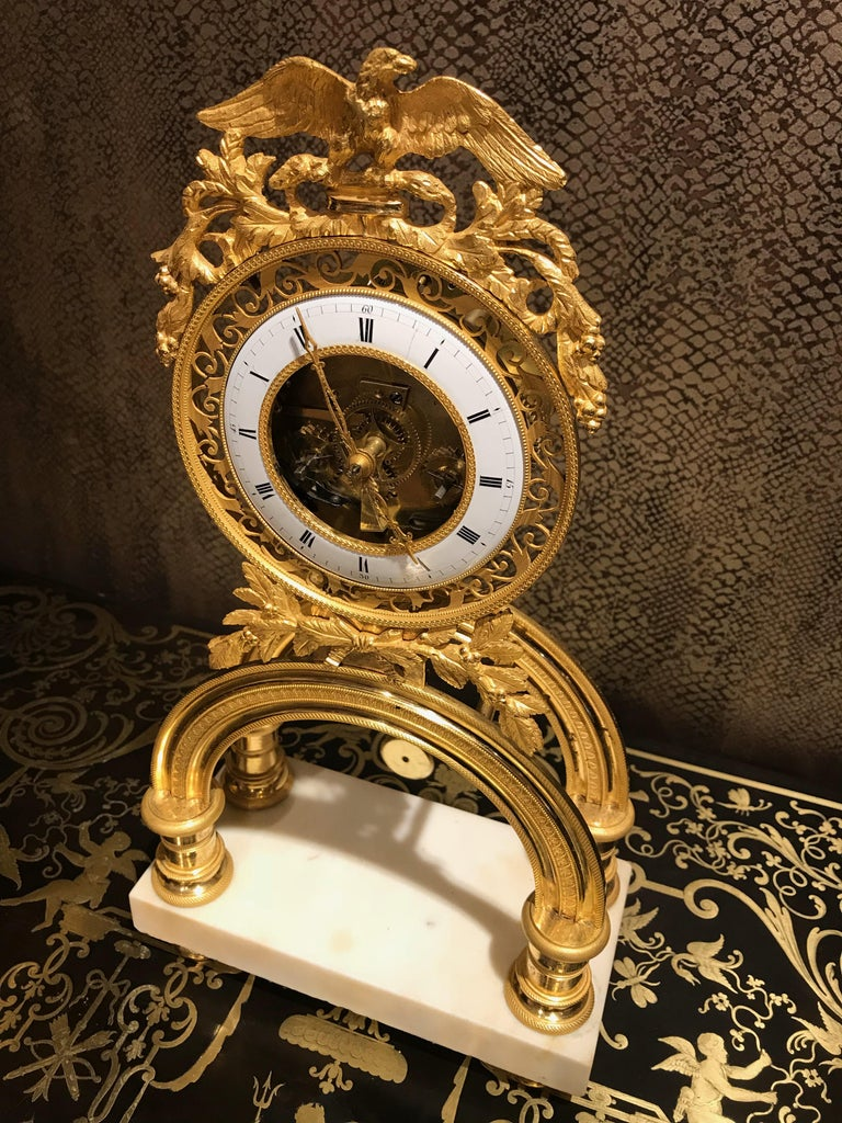 19th Century French Skeleton Clock of Ormolu and Marble from Directoire Period For Sale 2