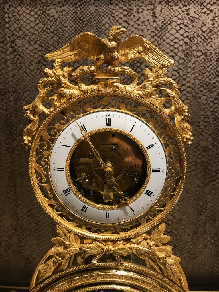 19th Century French Skeleton Clock of Ormolu and Marble from Directoire Period For Sale 4