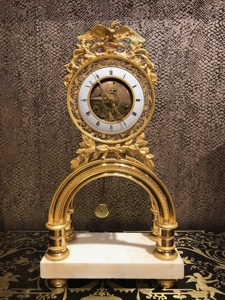19th Century French Skeleton Clock of Ormolu and Marble from Directoire Period For Sale 5