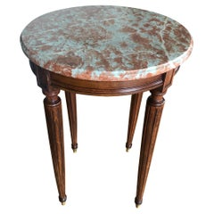 19th Century French Small Round Marble Top Side Table in Louis XVI Style