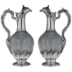 19th Century French Solid Silver and Glass Pair of Claret Jugs, circa 1890