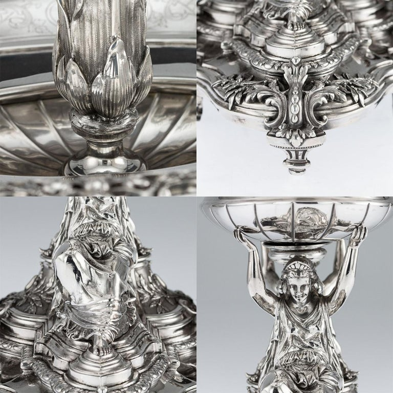 19th Century French Solid Silver Figural Centrepiece, Frey & Fils, Paris C.1880 For Sale 7
