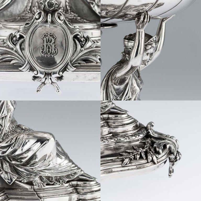 19th Century French Solid Silver Figural Centrepiece, Frey & Fils, Paris C.1880 For Sale 4
