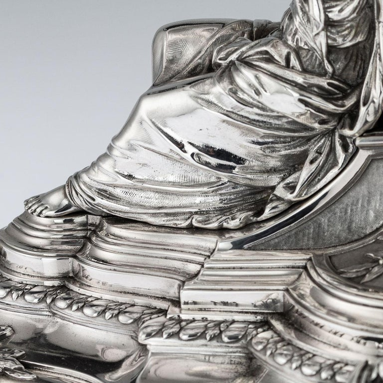 19th Century French Solid Silver Figural Centrepiece, Frey & Fils, Paris C.1880 For Sale 5