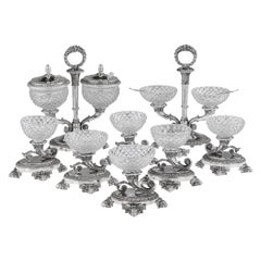 19th Century French Solid Silver & Glass Condiments Service, Paris, c.1830