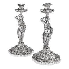 19th Century French Solid Silver Pair of Figural Candlesticks, Debain c.1880