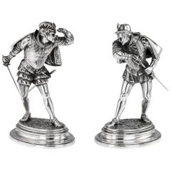 19th Century French Solid Silver Statues of Duellists, Émile Guillemin