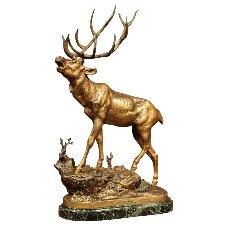 19th Century French Spelter Deer Sculpture on Marble Base Signed P. Lecourtier