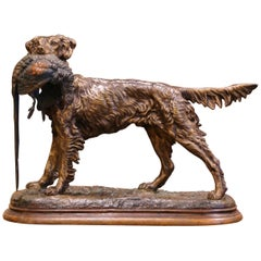 19th Century French Spelter Hunting Dog with Bird Sculpture after J. Moigniez