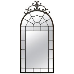 19th Century French Stained Glass Styled Iron Mirror