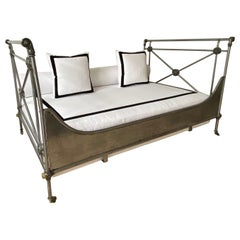 19th Century French Steel and Ormolu Campaign Day Bed
