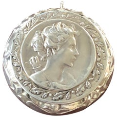 19th Century French Sterling Silver Round Box Medallion with a Mirror