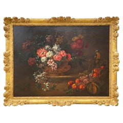 19th Century French Still Life Flower Oil Painting in Carved Gilt Frame