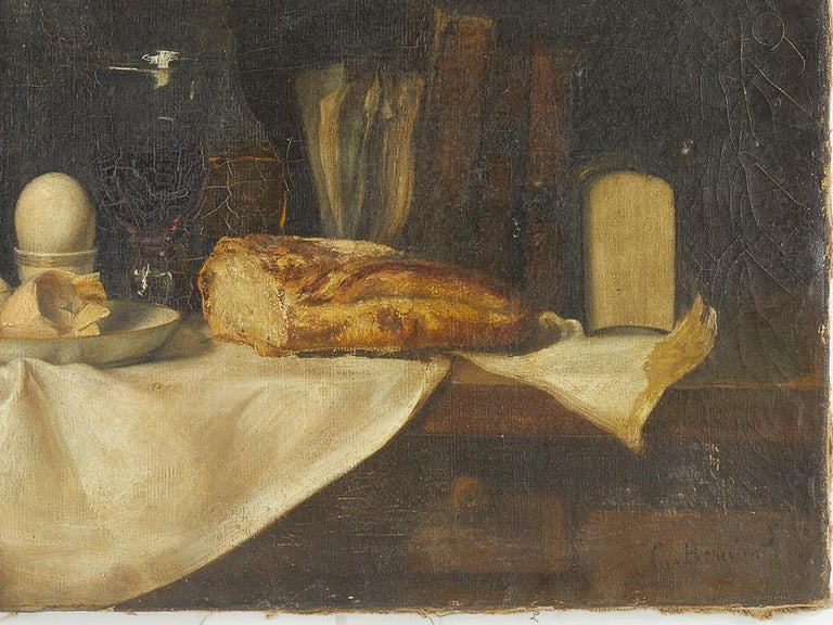 Hand-Painted 19th Century French Still Life Oil on Canvas For Sale