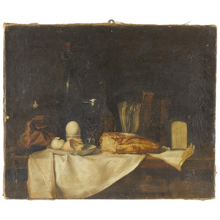 19th Century French Still Life Oil on Canvas For Sale