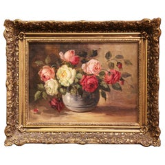 19th Century French Still Life Oil on Canvas Painting in Carved Gilt Frame