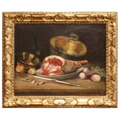 19th Century French Still Life Oil Painting in Gilt Frame Signed and Dated 1897