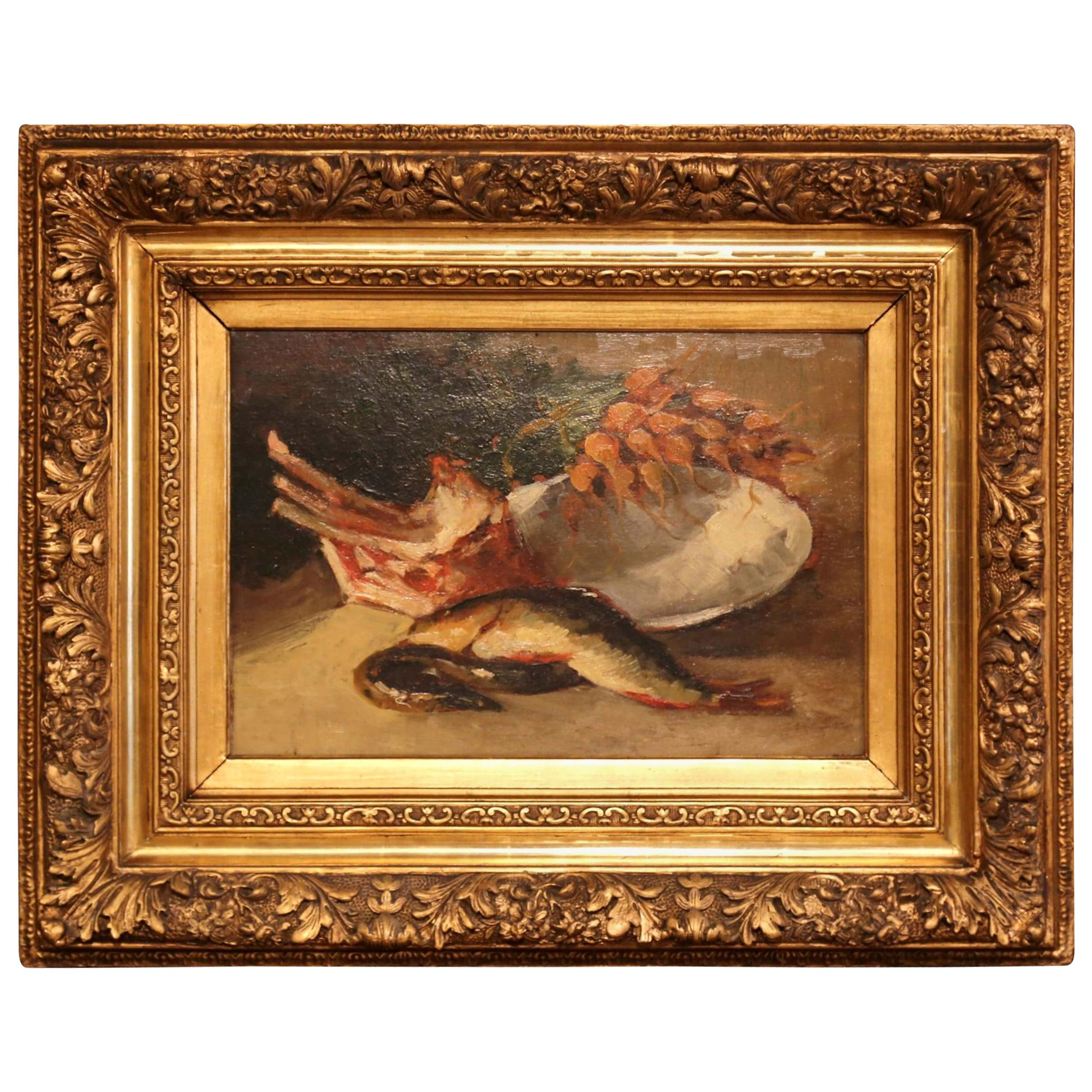 19th Century French Still life Oil Painting on Board in Carved Gilt Frame