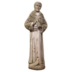 19th Century French Stone Statue of St. Francis with Bird, Patron of Animals