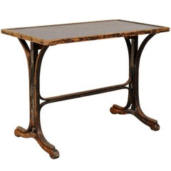 19th Century French Stone Top Desk with Beautifully Patinated Trestle Wood Base
