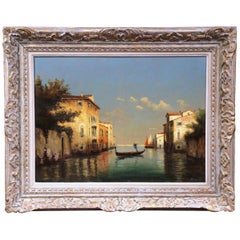 19th Century French Sunset in Venice Oil Painting in Painted Frame Signed Brard