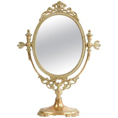 19th Century French Table Mirror in Gilded Bronze with Rich Decoration
