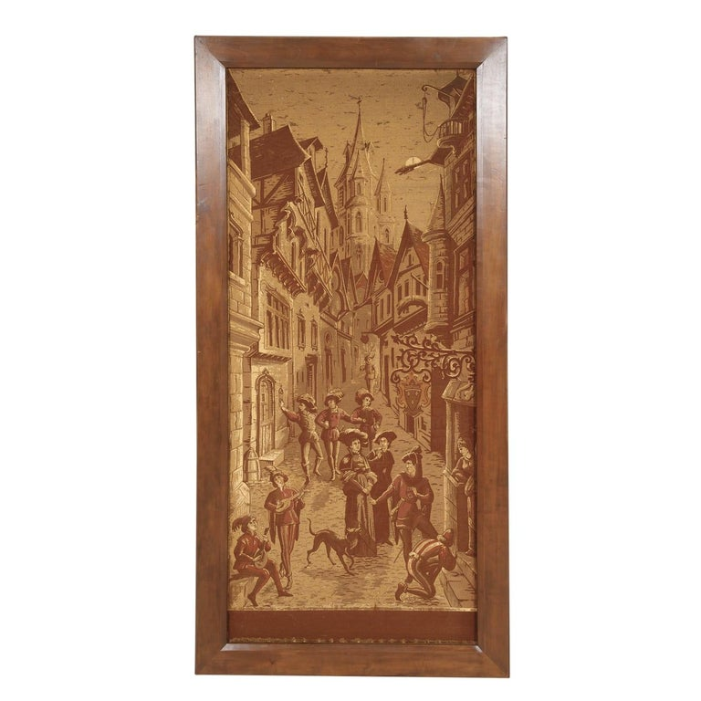 Set of 4 highly decorative, framed French tapestries in original condition, circa 1890s. Often used to keep out the cold, hand woven tapestries such as these were also used to tell stories or depicts images of the time period in which they were
