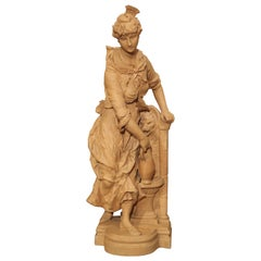 19th Century French Terracotta Statue of a Woman at a Fountain